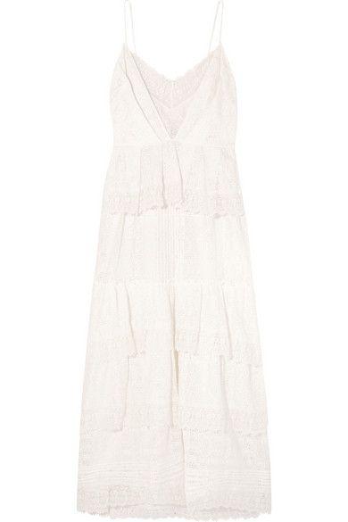 ERDEM Justina Tiered Crocheted Cotton-Blend Lace Midi Dress. #erdem #cloth #dresses