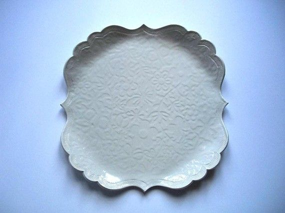 White Butterflies Scallop Plate by CatsPawPottery on Etsy, $24.00 ENGRAVE WITH INITIALS