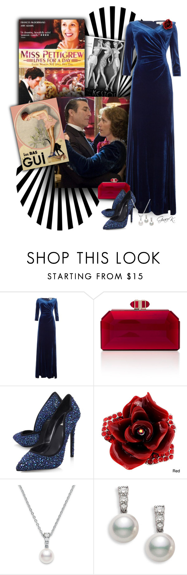 """""""Love is in the Air - Miss Pettigrew Lives for a Day"""" by gracekathryn ❤ liked on Polyvore featuring Tahari by Arthur S. Levine, Judith Leiber, Carvela, Mikimoto, movie, hollywood, women and fashionset"""