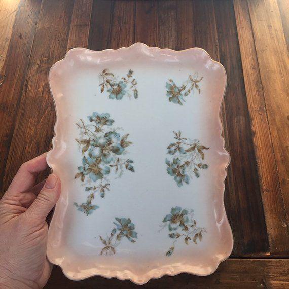 Vintage Tray Dresser Tray Decorative Porcelain Tray Floral