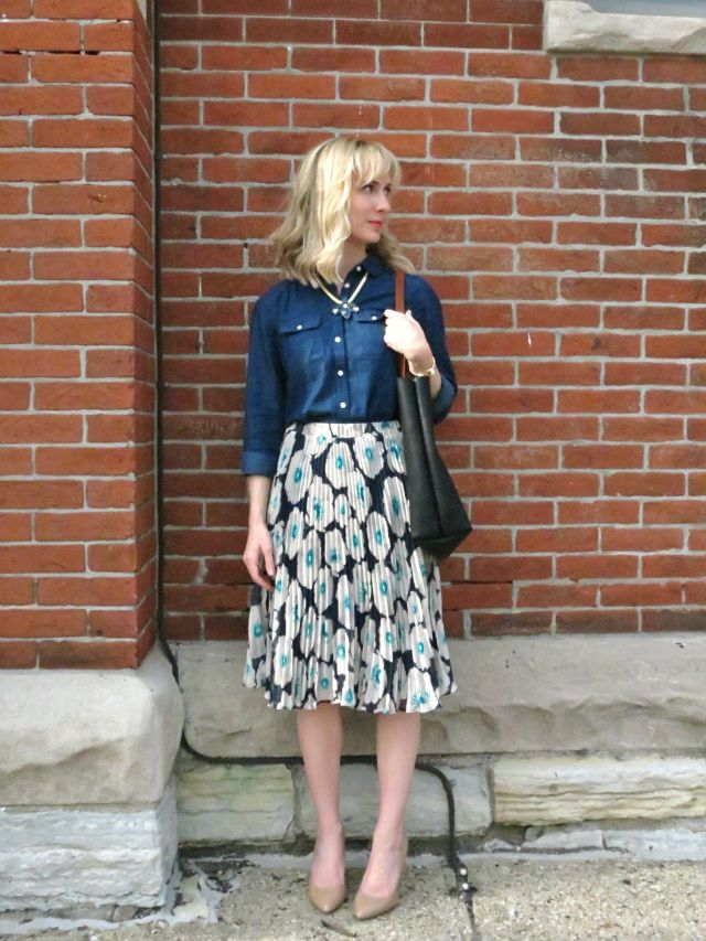 floral pleated midi skirt, dark chambray, nude patent leather pumps