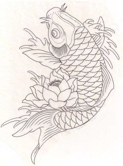 Koi Carp Fish Lotus Flower Tattoo Flash A4 Book With Line Drawing Outline Office & School Supplies