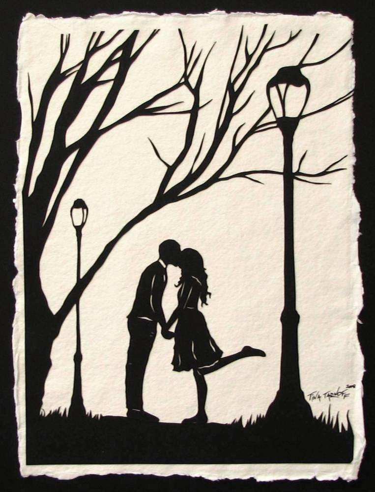 AUTUMN KISS Papercut - Hand-Cut Silhouette - Kissing Couple ...
