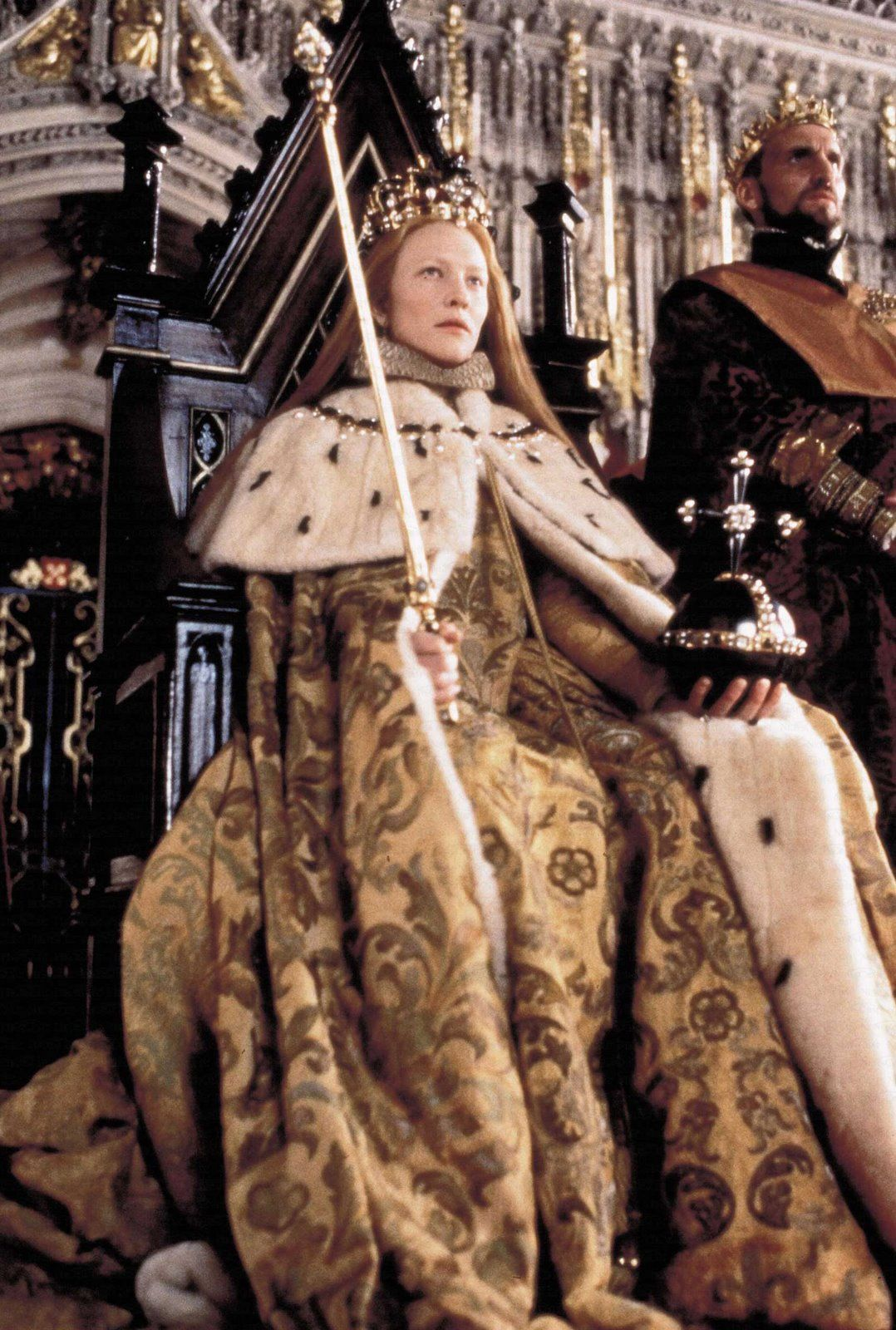 The costume worn by Cate Blanchett as Elizabeth I during