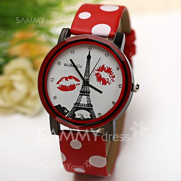 $4.03 WoMaGe Quartz Watch Diamond Dots Indicate Leather Watch Band for Women - Red