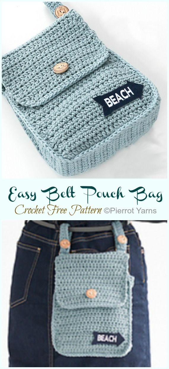 Easy Belt Pouch Bag Crochet Free Pattern #craft