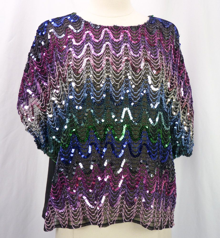 4109f60e1 Vintage 70s 80s Disco Gauze Rainbow Sequin Stripe Crop Top Plus Size 44 1X  #PearlettePlus