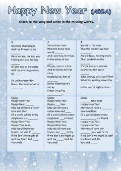 Happy New Year Abba Language English Grade Level Intermediate