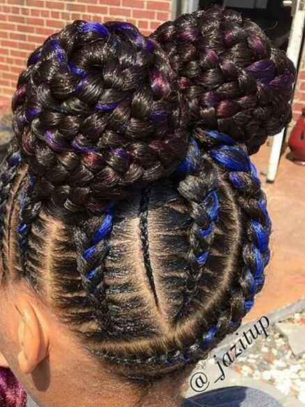 Braided Ombre Buns With Images Little Black Girls Braids
