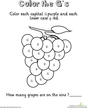 Worksheets Letter G Worksheets For Kindergarten write the letter g to find out cases and color by numbers worksheet