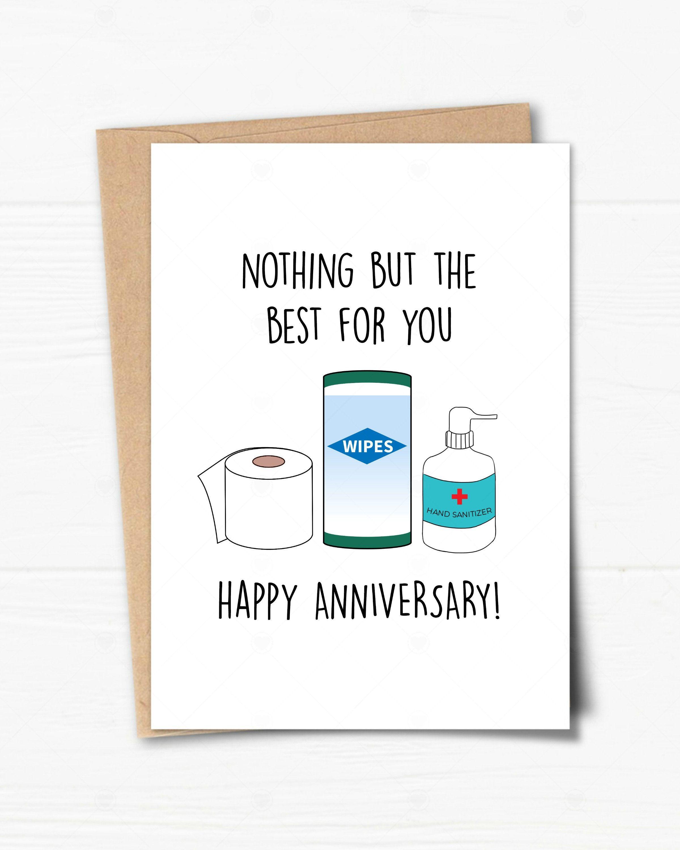Printable Anniversary Card Social Distancing Anniversary Card Hand Sanitizer Card Quarantined Anniversary Card Funny Anniversary Card Funny Anniversary Cards Printable Anniversary Cards Anniversary Cards
