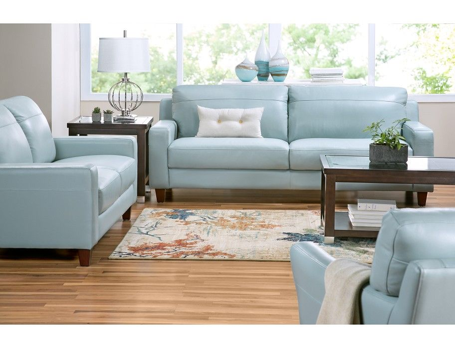Slumberland Fender Collection Aqua Sofa Blue Leather Sofas Couch Furniture