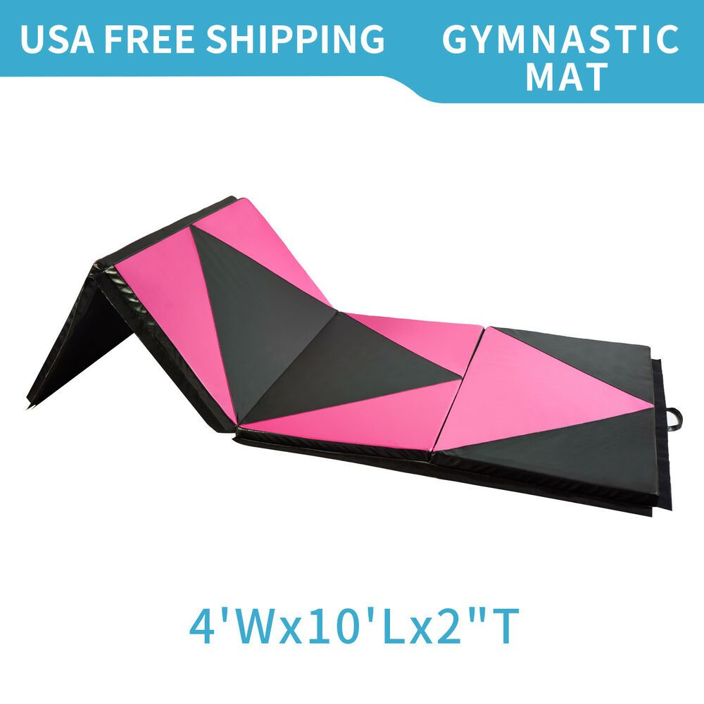 """4/'x10/'x2/"""" Folding Gymnastics Mat Exercise Mat Fitness Pad Rose Red and Black"""