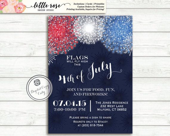 Fourth of July Party - Memorial Day Invite - Labor Day Invitation - 4th of July BBQ - Birthday - Patriotic - Fireworks - Printable
