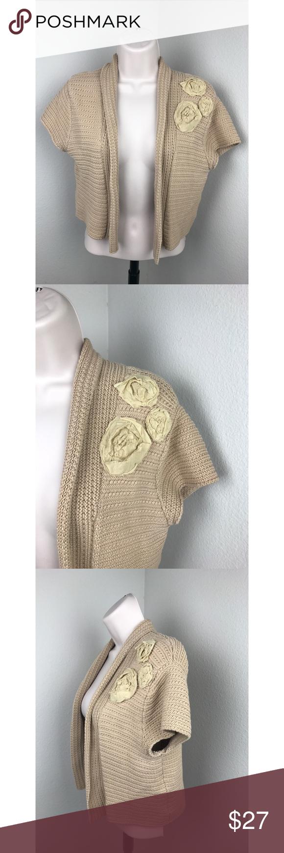 CAbi Shrug Bolero Beige Floral Sweater Medium | Shrug sweater ...
