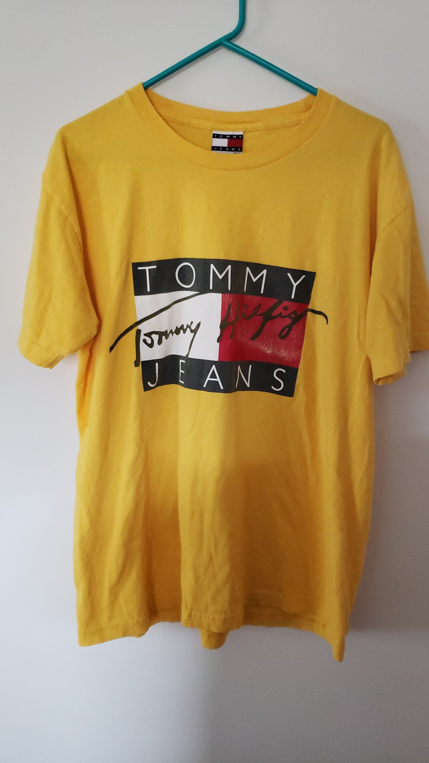 1ffafee4ae8 Vintage 90 s Tommy Hilfiger Jeans Yellow Big Logo Shirt - Size Large by  RackRaidersVtg on Etsy