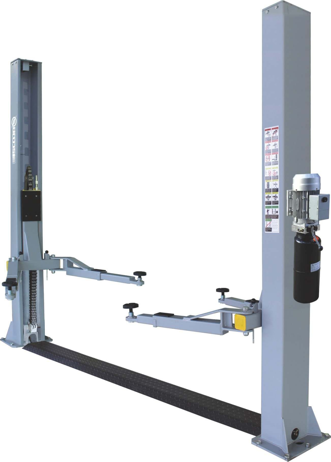 two post lift with a base plate lifting capacity of 4 ton