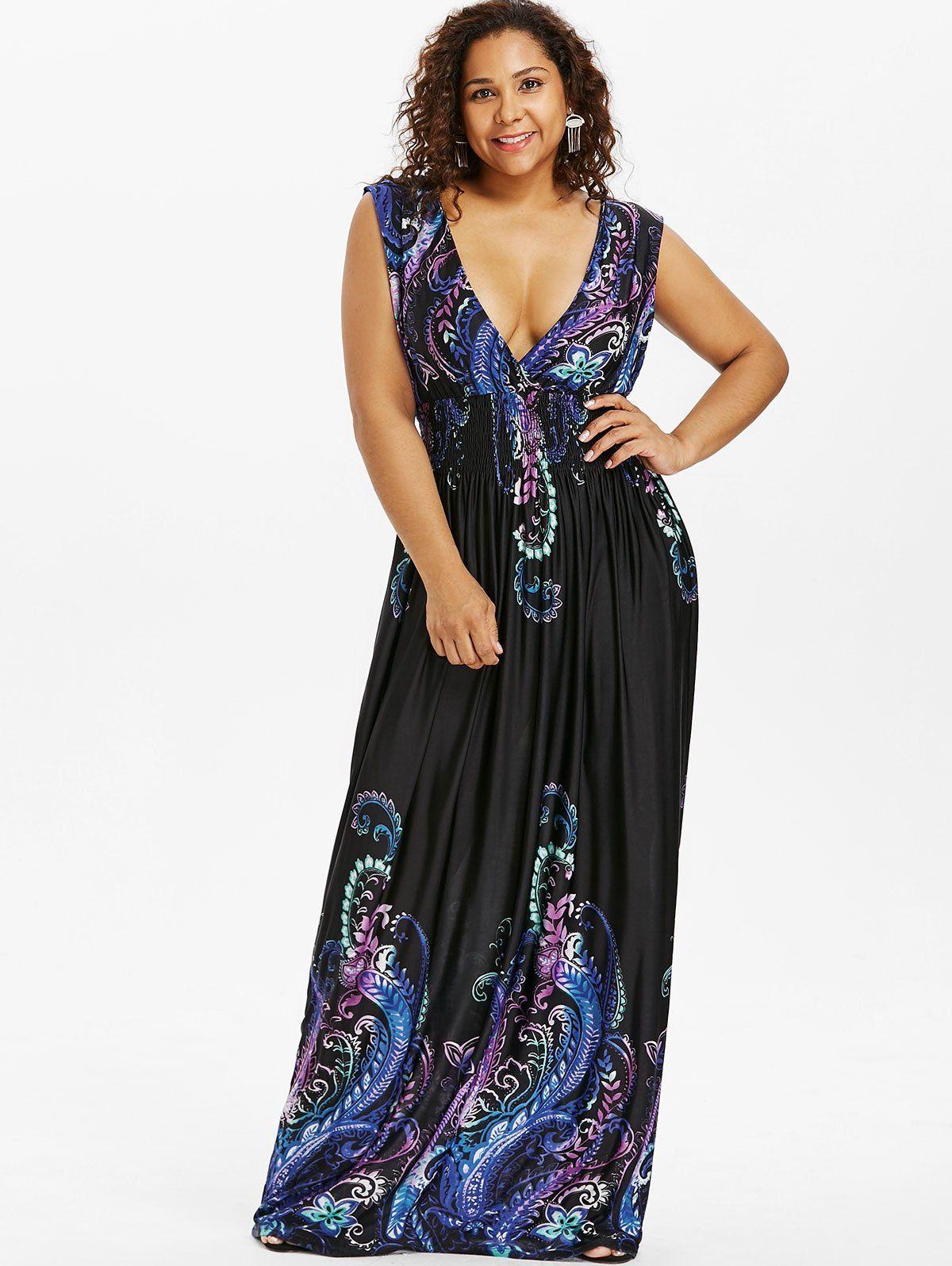 74846377cc1 Paisley Plus Size Plunge V Neck Maxi Bohemian Dress