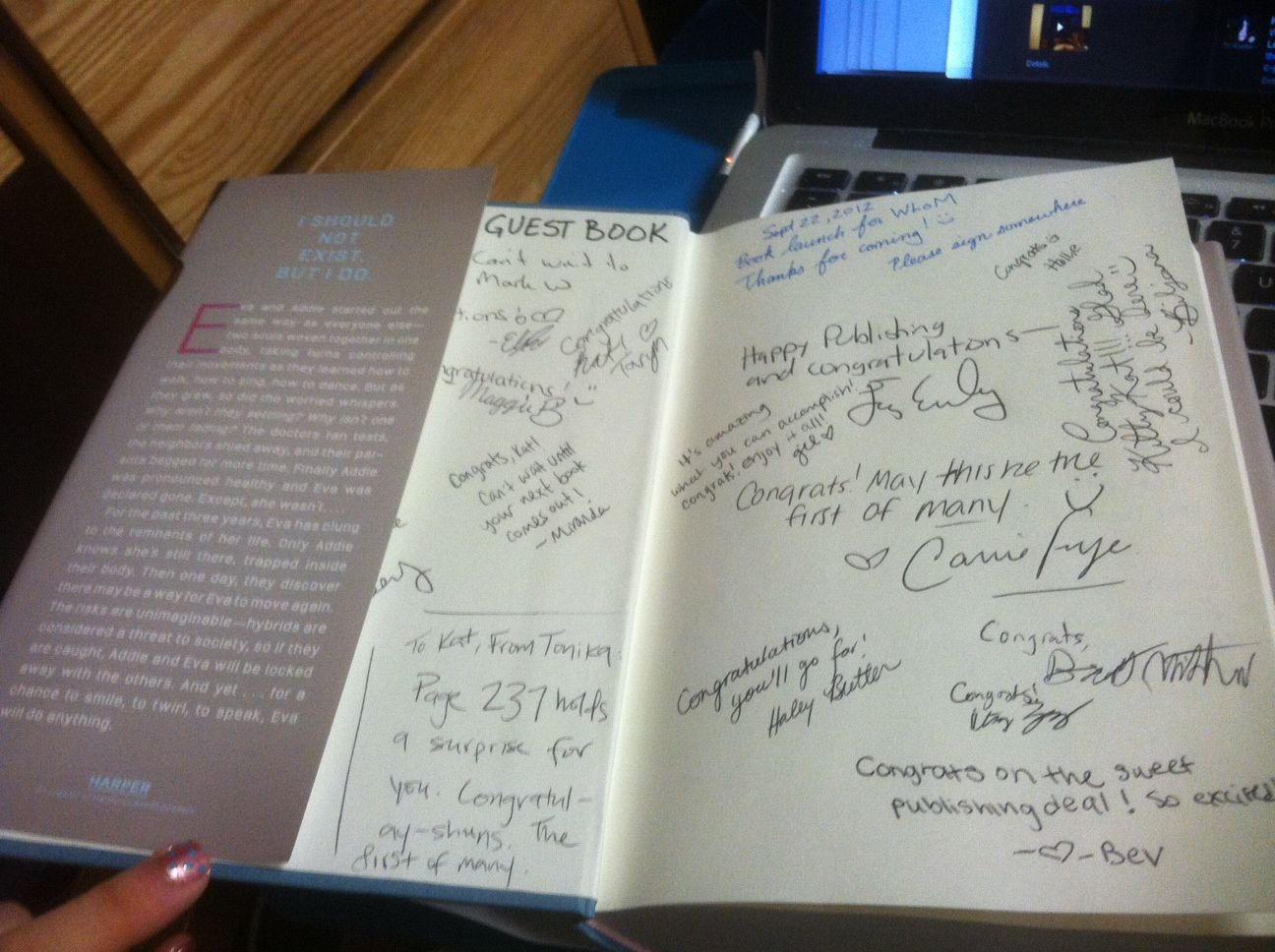 Idea for authors: use a copy of your book as a guest book for your launch party. From Kat Zhang's blog.