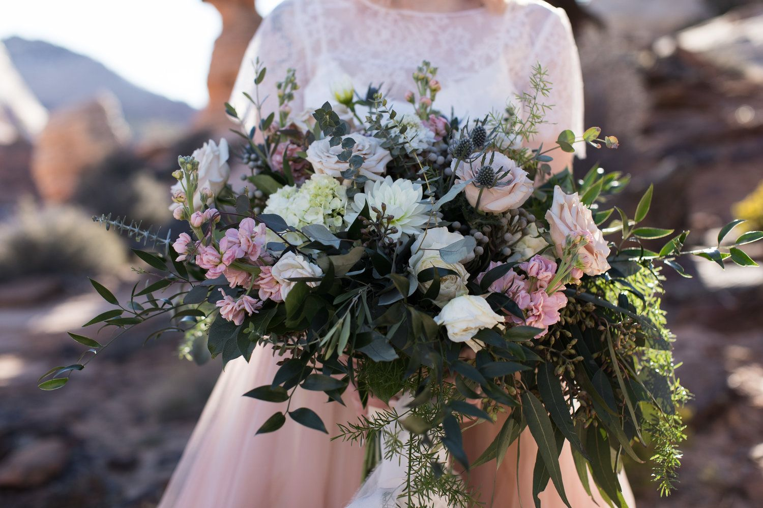 4d320344f275 Chantel Lauren Mae Gown rose gold wedding dress hand painted tyler rye zion  national park bride colored pink color large bouquet mauv flowers