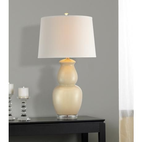 Crackle Ivory Double Gourd Ceramic Table Lamp T9187 Lampsplus