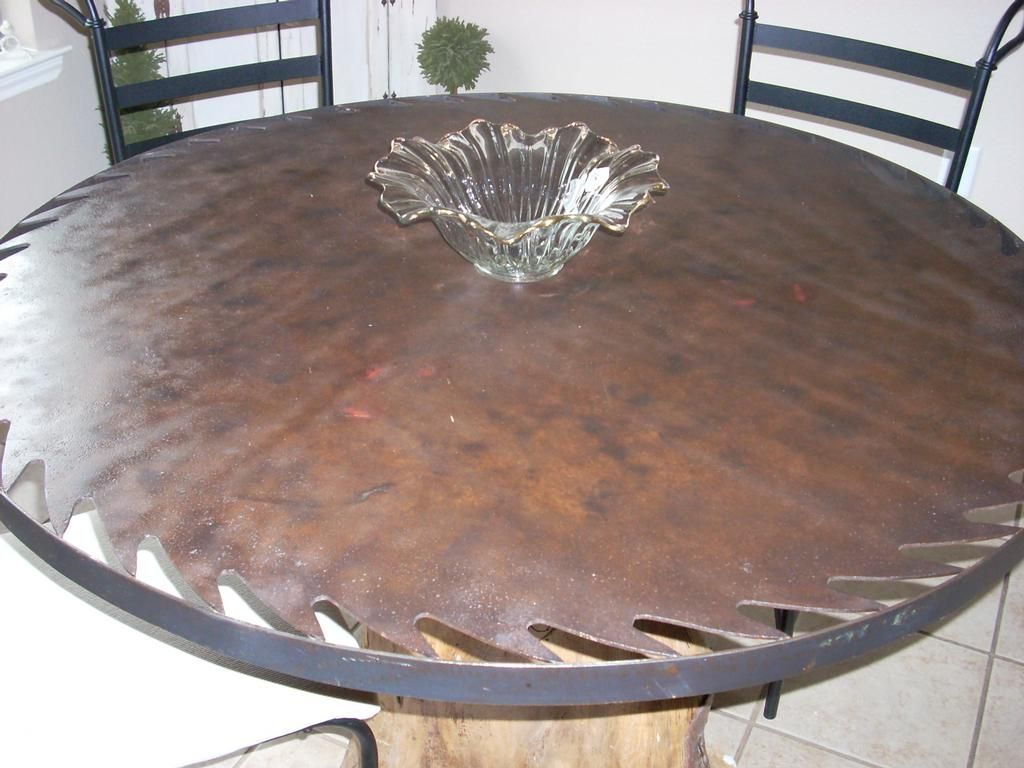 Rustic Saw Blade Tables Description Custom Table Tree Trunk W Saw Blade Table Top W Glass