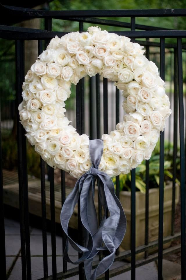 White Floral Wreath For Wedding Decorations M Elizabeth Events