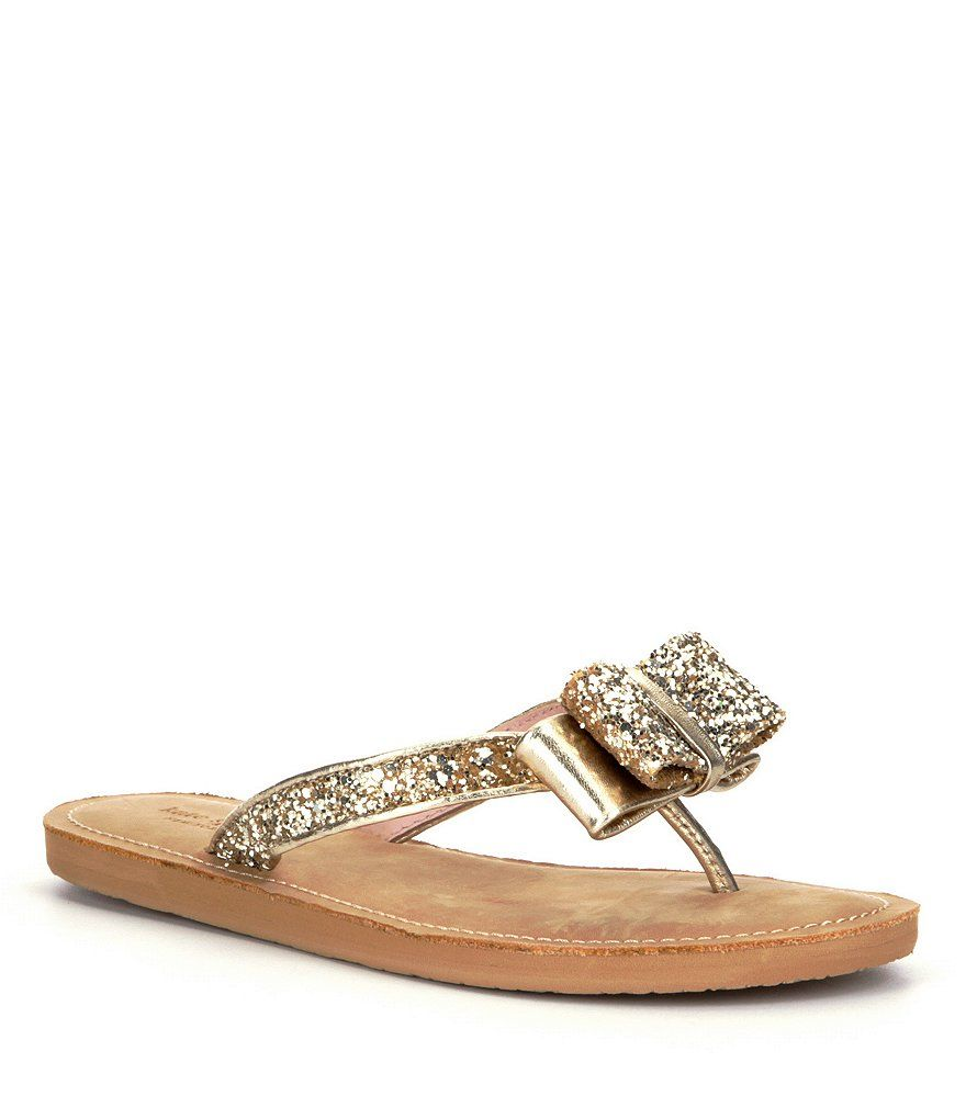 f81f3d49735c kate spade new york Icarda Bow Detail Glitter Fabric & Leather Flip Flop  Sandals