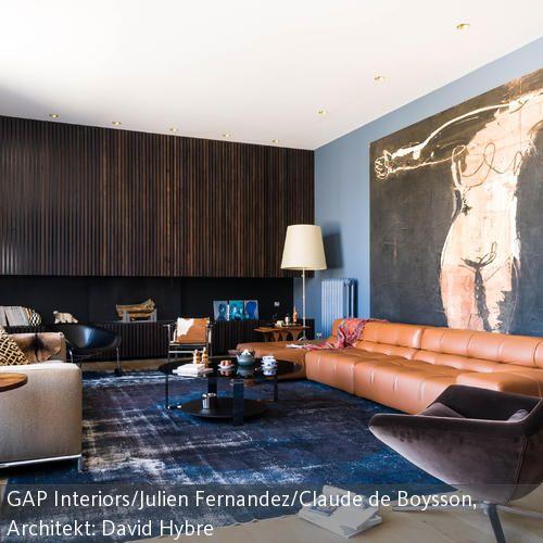 Blauer Teppich im Wohnzimmer | Blaue Teppiche, Wandbilder und Schlicht