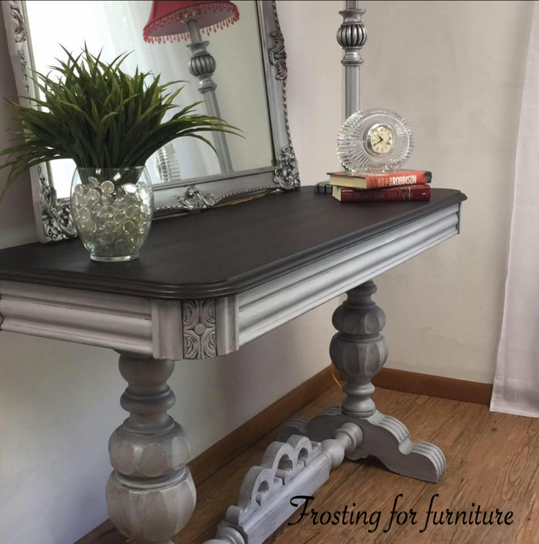 Beautiful Frosting Painted On A Console Table Refurbished Table Furniture Makeover Painted Furniture