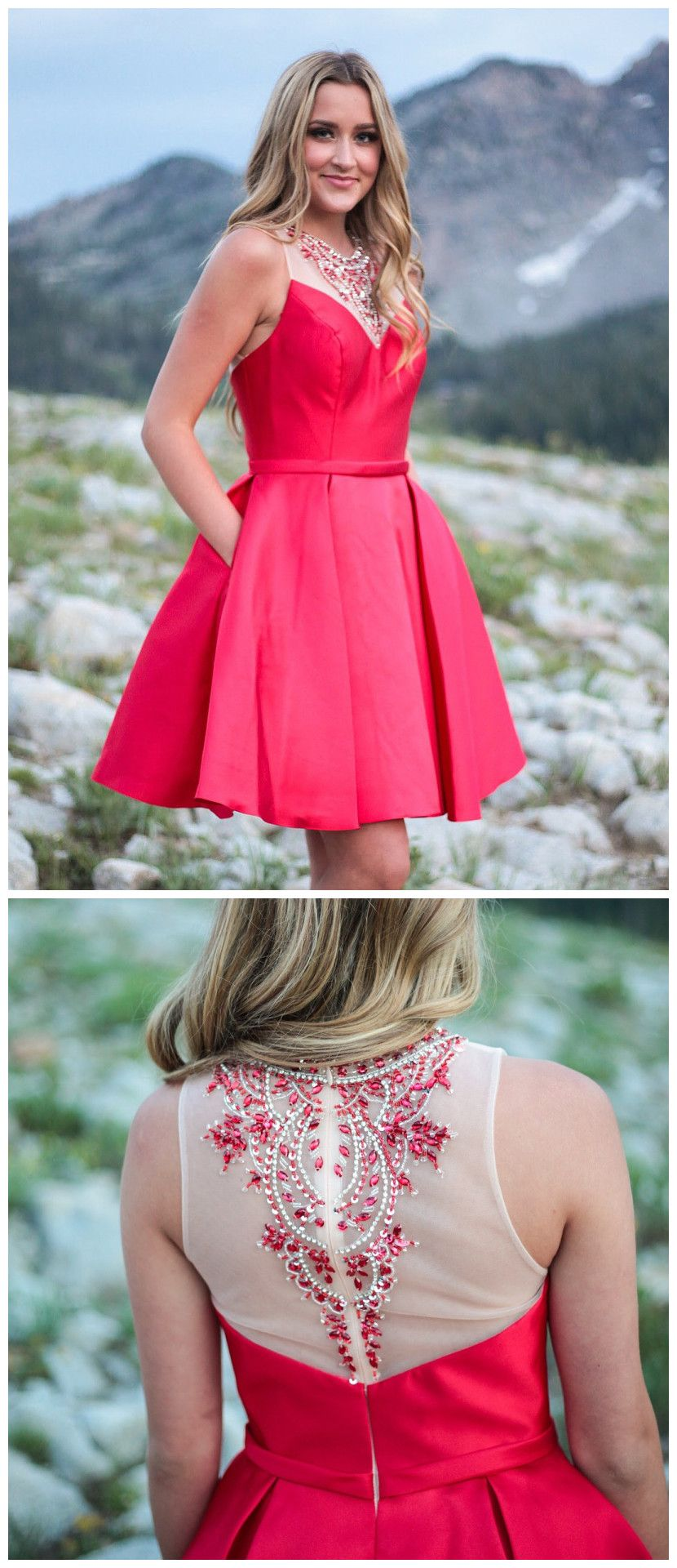 aline short prom dresses scoop beading red cocktail dress