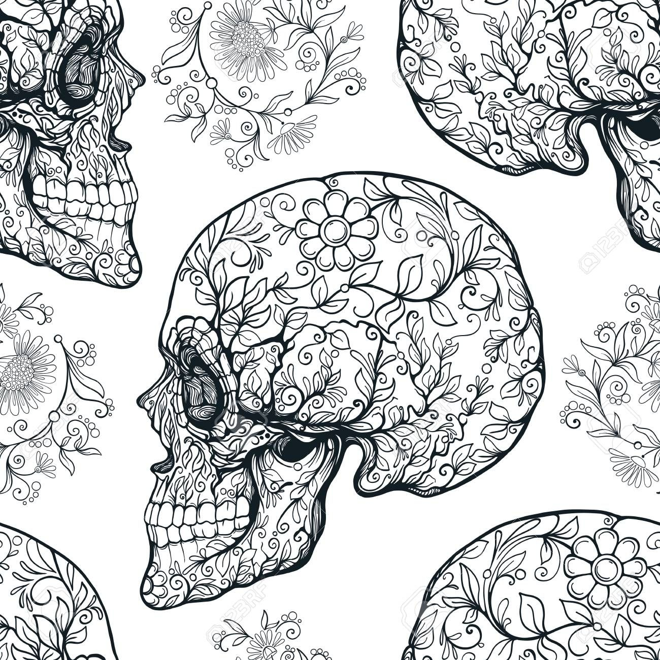 Seamless pattern, background with sugar skull and floral patter ,