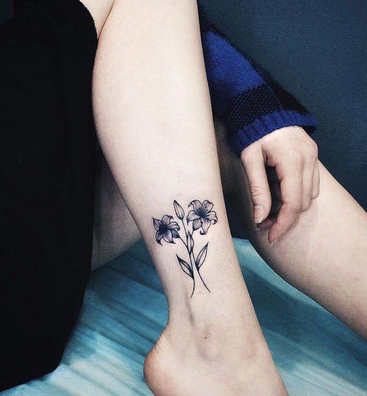 Tatouage Cheville Femme Feminin Tatouage Fleur Lys Harry Potter