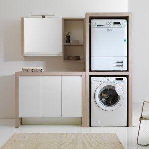 È dotata di colonna per l'alloggio della lavatrice e dell