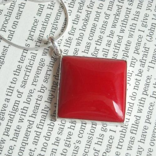 Large red coral pendant necklace square silver pendant jewelry large red coral pendant necklace square silver pendant jewelry aloadofball Images