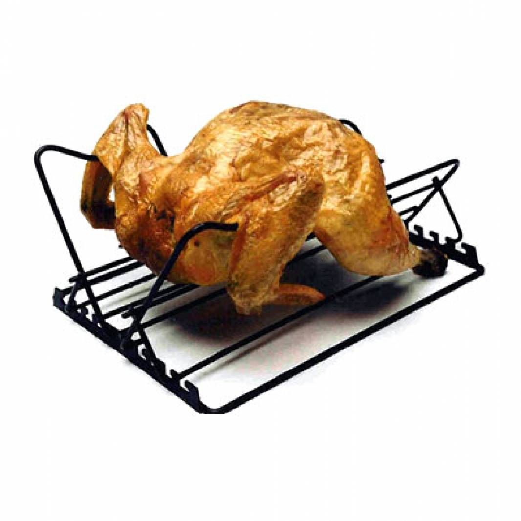 The V-Rack shape and wings allow you to cook a chicken or other poultry breast-down so that the juices stay put.  This rack is adjustable to fit meat of all sizes.  Non-stick coated for easy cleanup.  Folds flat for easy storage