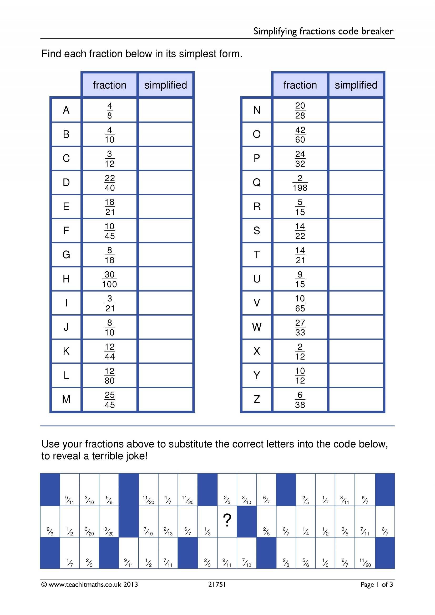 Simplifying Fractions Code Breaker