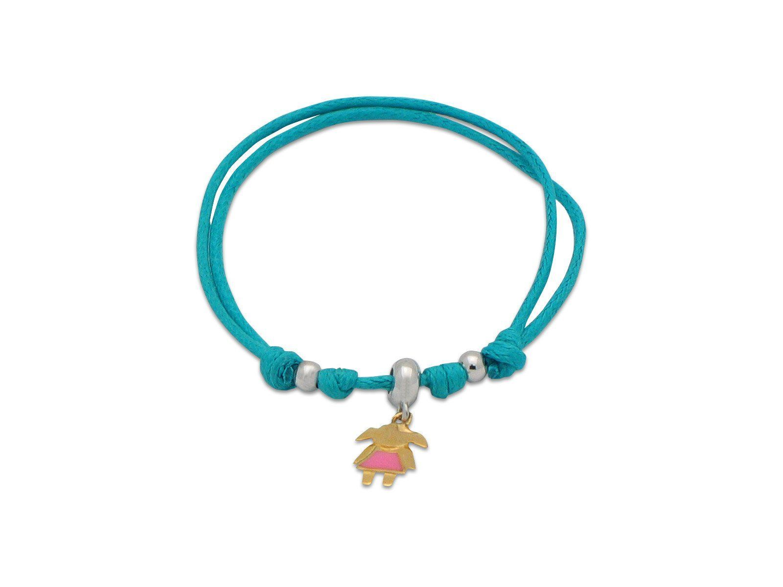 BecKids Aqua Cord Bracelet Little Girl Enamel Charm | Sterling Silver, Adjustable