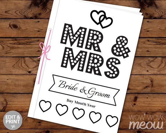 Wedding Coloring Book Children\'s Activity Sheets Booklet Printable ...