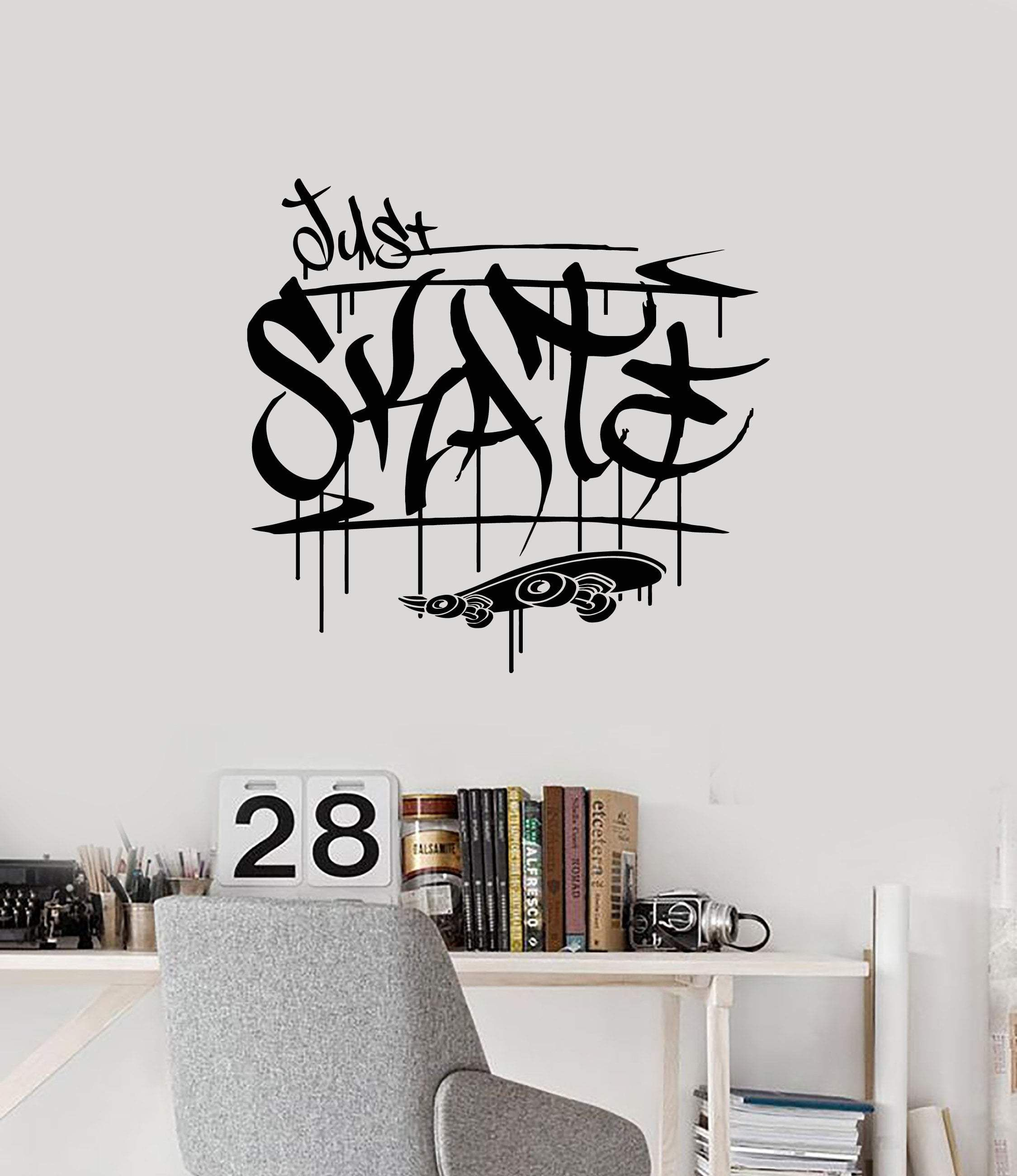 vinyl wall decal just skate graffiti skateboarding on wall stickers for hall id=17785