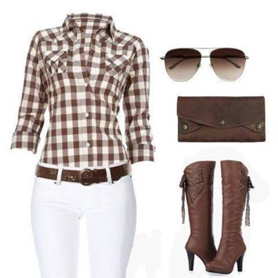 Sexy cowgirl set with a flattering brown flannel shirt, sexy white pants, beautiful brown high heel boots, a brown leather clutch, and cool brown sunglasses.