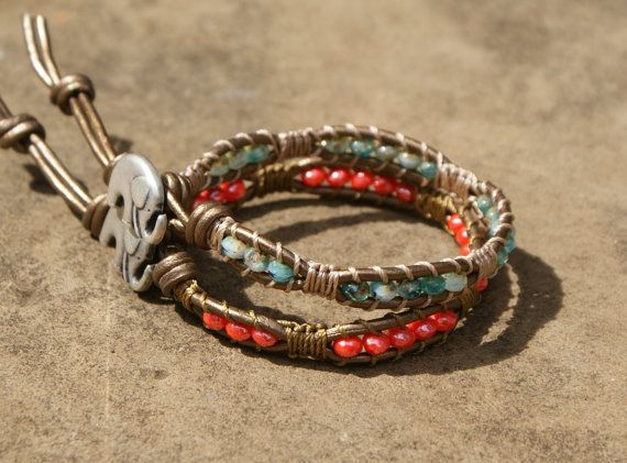 Coral leather wrap bracelet, macrame inspired boho chic, hipster, lucky elephant charm, bohemian rustic, single layer bracelet
