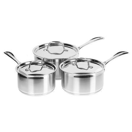 Dunelm Brushed Stainless Steel 3 Piece Saucepan Set