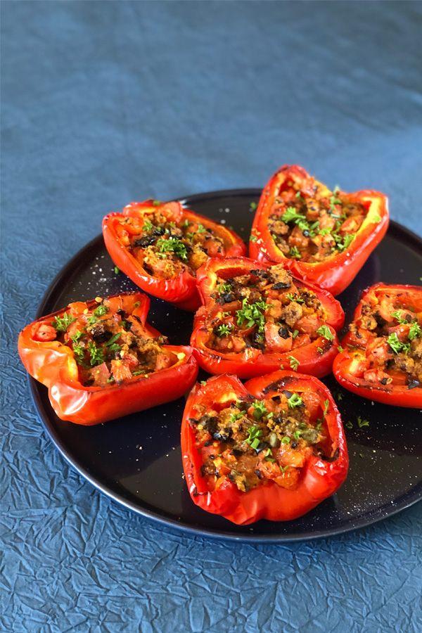 Poivrons farcis aux tomates & olives