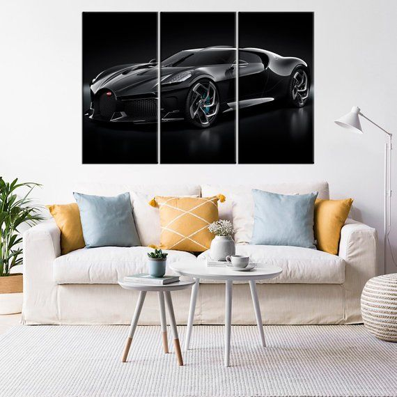 Bugatti La Voiture Noire Automobile Print Large Wall Art Bugatti Cars Ready Framed Canvas Super Car Canvas Picture Walls Luxurious Bedrooms Large Wall Art