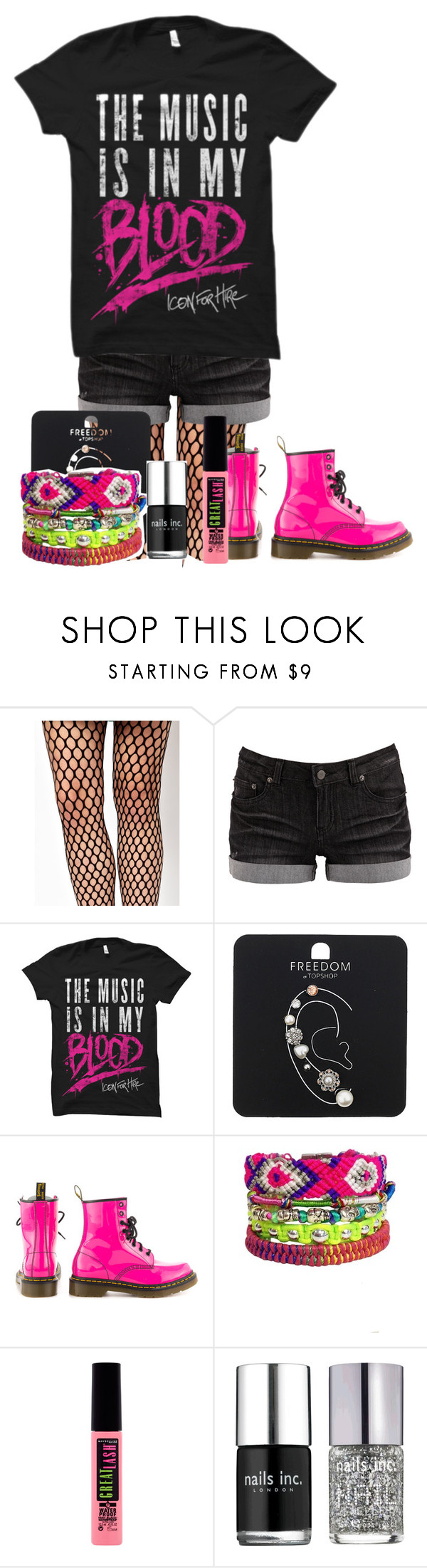 """""""Icon For Hire"""" by nikkimarie-1123 ❤ liked on Polyvore featuring Wolford, Pieces, Topshop, Dr. Martens, Maybelline and Nails Inc."""