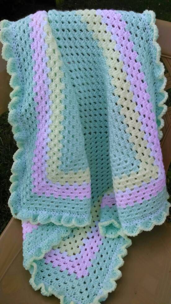 Pink and Yellow Ripple Afghan for Baby and Child