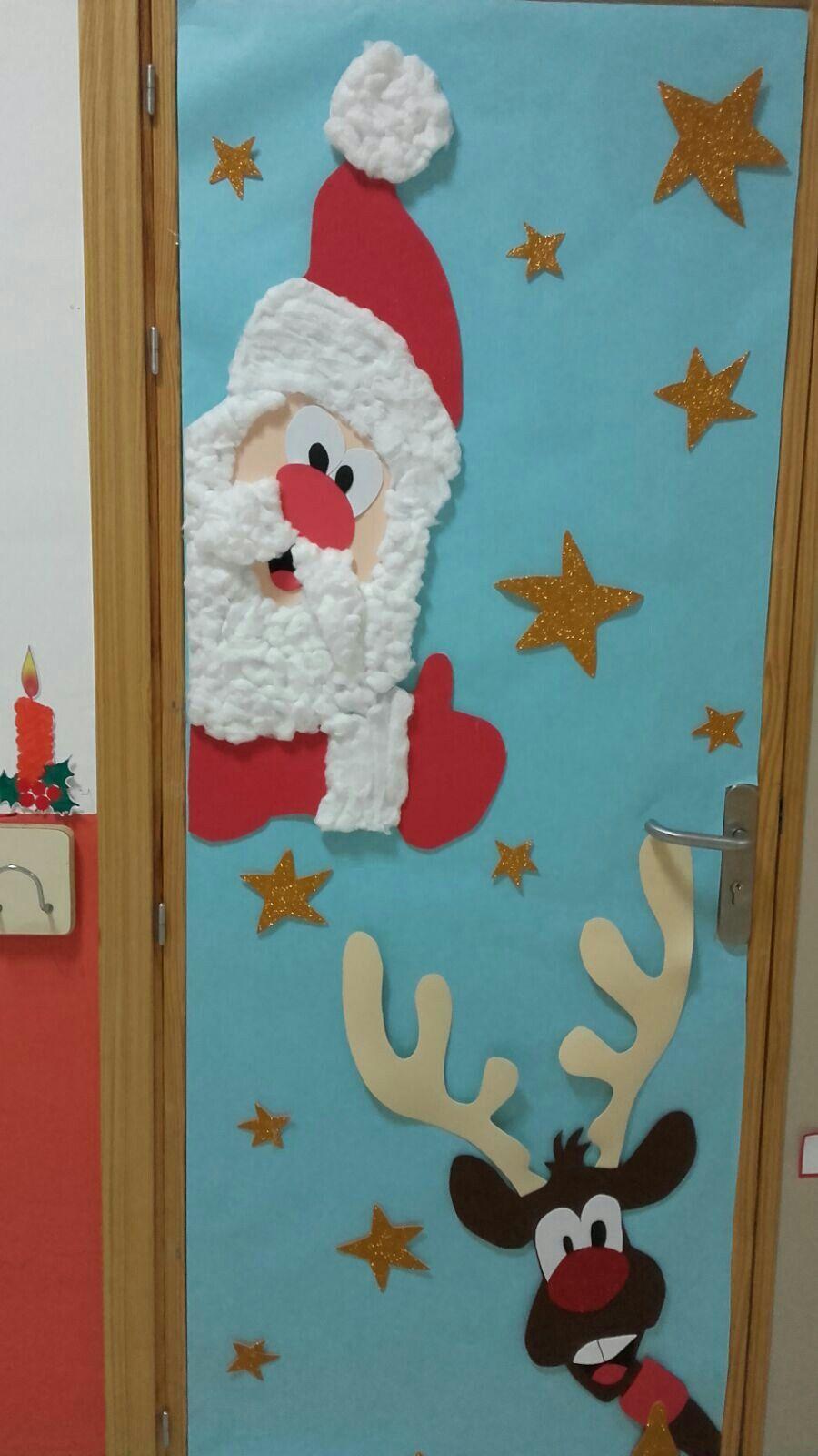Decoraci n papa noel y reno para navidad santa claus para for Puertas decoradas navidad material reciclable