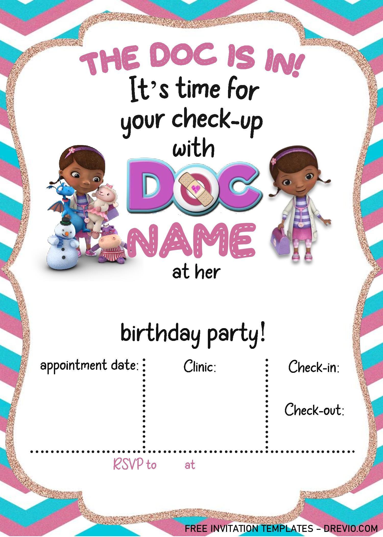 Doc Mcstuffins Birthday Invitation Templates Editable With Ms Word Doc Mcstuffins Birthday Doc Mcstuffins Birthday Party Invitation Doc Mcstuffin Invitations
