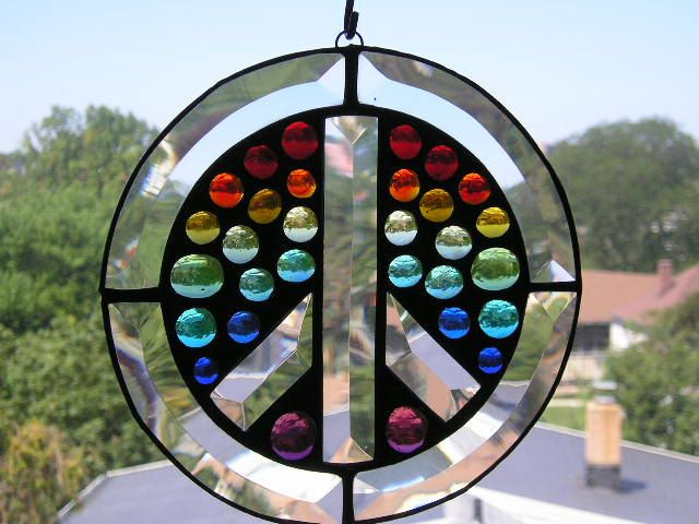 Handmade Stained Glass with Beveled Peace Sign Sign